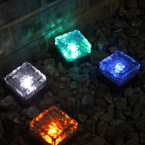Tomshine 4Pcs IP65 Water Resistant Light Sensor Creative Glass Stone Ice Cube Solar Powered Crystal Brick LED Night Lamp for Garden Courtyard Pathway Patio Pool Pond