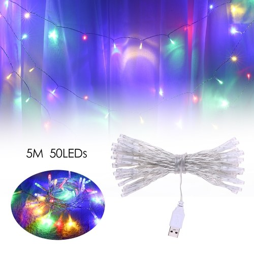 Фея Лампа USB 50LEDs Шариковая Строка Света Декоративные Огни на Рождество Свадьба Домой