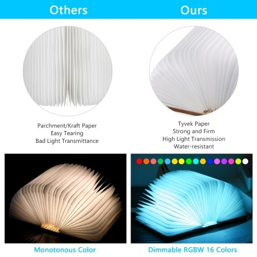 Tomshine R Shaped Folding Book Light LED Table Lamp Dimmable 16 Changing Colors & Timer Function USB Rechargeable Bedside Night Light Perfect Gift for Birthday Christmas Living Home Decoration