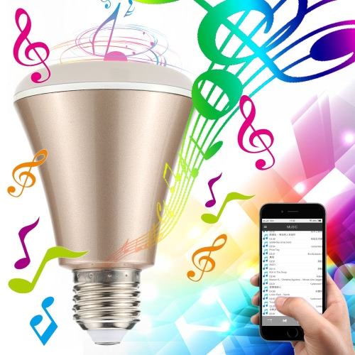 4W Bluetooth Smart Speaker LED E27 Light Bulb APP Smartphone Controlled Dimmable RGBW Color Changing Music Lights for IOS and Android Devices for iPhone//iPad/Samsung/Tablet