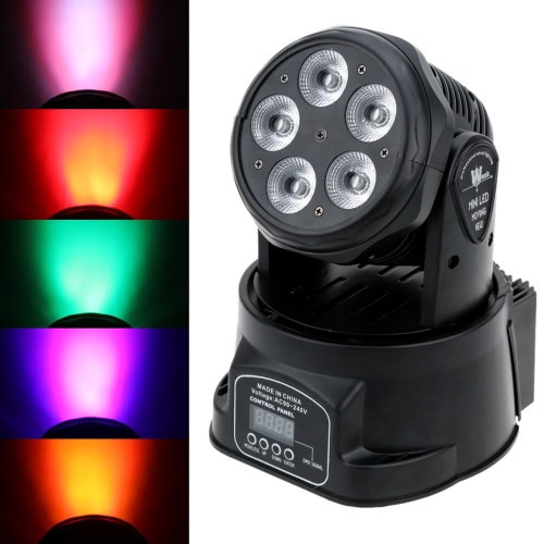 Lixada 75W 5LEDs Colors Changing Head Moving Light Stage Wash Lamp