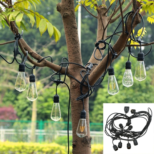 Vintage Commercial Light String 9 Hanging Sockets 30ft Strip Christmas Holiday Festival Decorations Indoor and Outdoor Use UK Plug Style IP55 Water Resistance