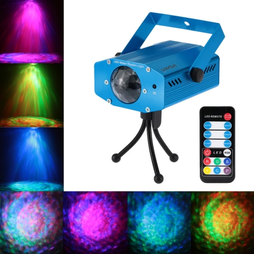 Lixada 9W Color Changing Mini LED Water Wave Ripple Effect Stage Light Lamp with Controller for Disco KTV Club Party Home Entertainment