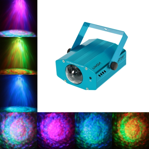 Lixada 9W RGBW Color Changing Mini LED Water Wave Ripple Effect Stage Light Lamp with Controller for Disco KTV Club Party Home Entertainment