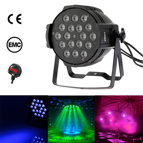Lixada 200W 18LED DMX512 Sound Activated Auto Running 8 Channels RGBW Color Changing PAR Light Stage Effect Lamp for Disco KTV Club Party