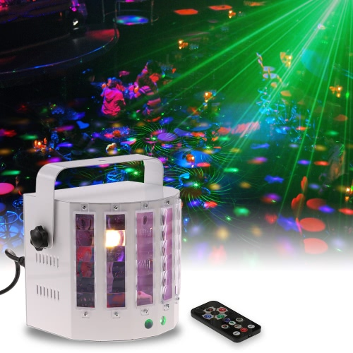 18W 9 Colors 9 LED 2 Channel Remote Control Dual Sword Butterfly Stage Light DMX512 Sound Activated Strobe Flicker Effect Lamp for Disco KTV Club Party Wedding Birthday Halloween Christmas New Year