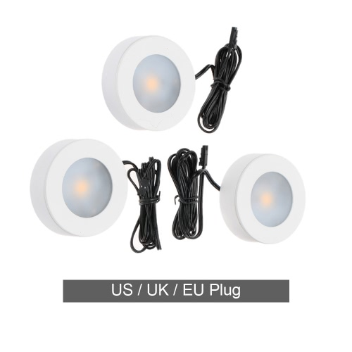 Lixada 3-Packed LED Under Cabinet Lamp Puck Light Display Light Warm White for Closet Kitchen Exhibition with Adapter 5W AC100-240V