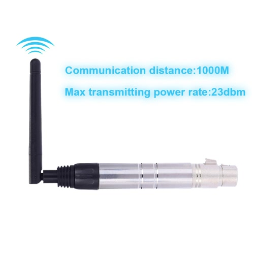 23DBM High Power 1000M Ultra Long Distance 2.4G ISM DMX512 Wireless Female XLR Receiver Lighting Controller with Antenna for LED Stage PAR Effect Lamp