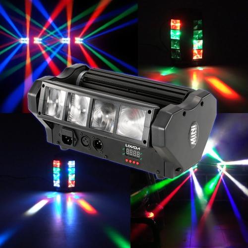 Lixada 80W RGBW Kopf bewegliches drehbares LED Spinnen-Strahln-Stadiums-Licht