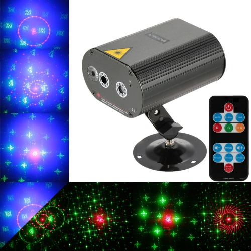 Lixada Mini Remote Control Red Green Patterns Effect Stage Lamp with RGB LED Background Light for Disco KTV Bar Party
