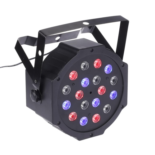 18W AC90-240V 18 LEDs RGB Flat Par Light Channel 1/2/3/4/5/6/7 Stage Effect Light DMX 512/ Sound Activated/ Master Slave/ Auto Run/ for Disco Stage Bar DJ Club Home KTV Show Par Lamp