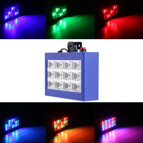 AC110-240V 12 LEDs 9W Strobe Stage Effect Light RGB Flash Light Stage Party Lighting Sound Activated Auto Run for Club Disco DJ Bar