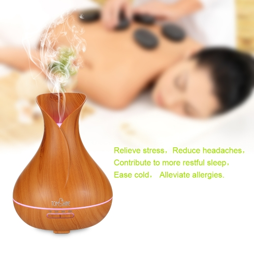 Tomshine Aromatherapy Essential Oil Diffusers Humidifier 400ml Yellow Wood Cool Mist Ultrasonic Aroma Diffuser for Home, Yoga, Office, Spa, Bedroom, Baby Room