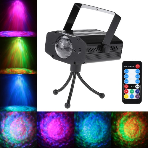 10W Color Changing Mini LED Water Wave Ripple Effect Stage Light Lamp with Controller for Disco KTV Club Party Home Entertainment