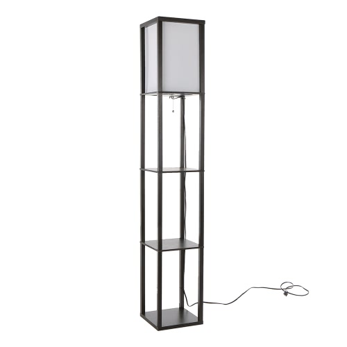 UL Listed 110-240V Creative 3 Layers Shelf Floor Lamp E27 Vertical Storage Rack Stand Light for Home Living Room Bedside Study Reading Decoration