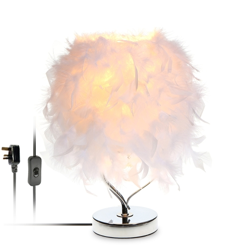 220V Feather Table Desk Light Heart Shape Crystal Bedside Lamp for Bedroom Foyer Living Reading Sitting Room Bedroom