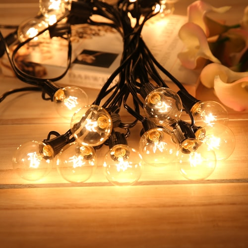 G40 Incandescent String Light 2 Spare Bulbs Total Power 175W 27FT E12 Base for Patio Garden Backyard Party Christmas Holiday Wedding Decorations