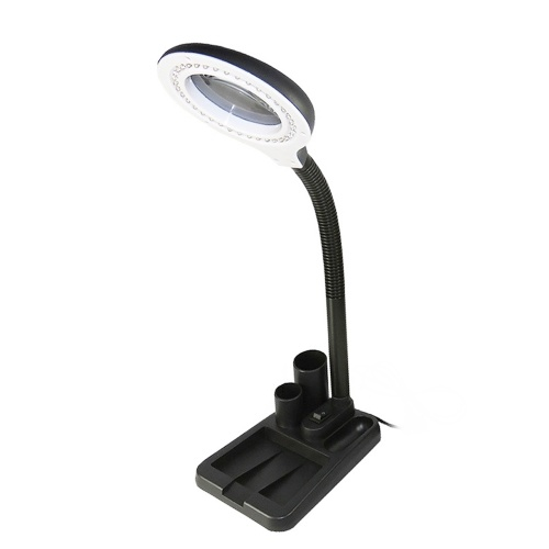 AC220V 6W 40 LEDs 5X/10X Magnifier Glass Desk Lamp with Gadget Storage Design