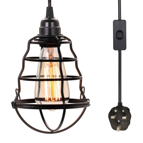 Industrial Plug in Pendant Light On/Off Switch Vintage Hanging Cage Ceiling Lights Mini Adjustable Pendant Lamp for Kitchen Home Lighting (no bulb)