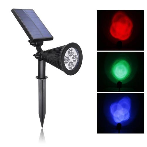 4 светодиодных солнечных RGB свет Spotlight регулируемый водонепроницаемый безопасности ночь Открытый сад лужайка Пейзаж Ярд пятно стены лампы теплый / холодный белый