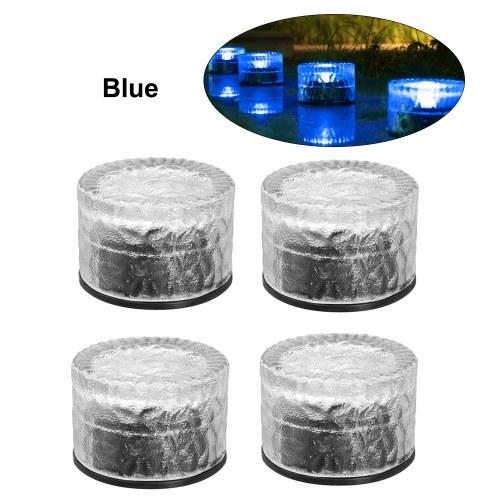 4Pcs Luces de ladrillo de vidrio solar Lámpara de suelo de luz enterrada redonda Iluminación de paisaje exterior resistente al agua IP65