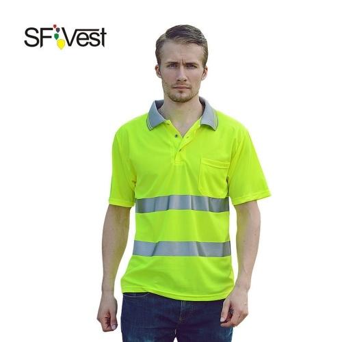 SFVest Safety Reflective Shirt Hochsichtbare Kurzarmtasche mit T-Shirt Silber Reflektierende Bänder Herren Feuchtigkeitstransport Sicherheitshemd Arbeitskleidung