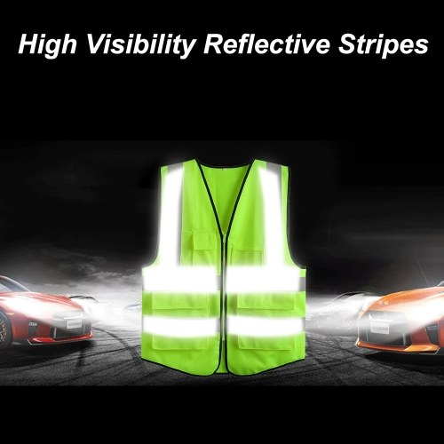 LA-2018 Reflective Safety Vest High Visibility Safety Vest Bright Neon Color Breathable Vest with Reflective Strips for Construction sanitation Worker Roadside Emergency L Size