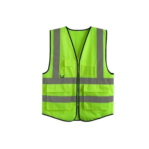 LA-2018 Colete de Segurança Refletivo Colete de Segurança de Alta Visibilidade Colete Respirável Cor Néon Brilhante com Tiras Refletivas para Construção saneamento Trabalhador de Emergência Na Estrada XL Tamanho