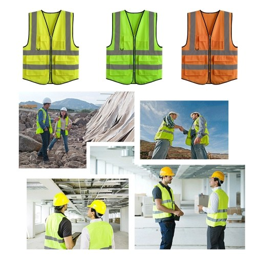 LA-2018 Reflective Safety Vest High Visibility Safety Vest Bright Neon Color Breathable Vest with Reflective Strips for Construction sanitation Worker Roadside Emergency L Size