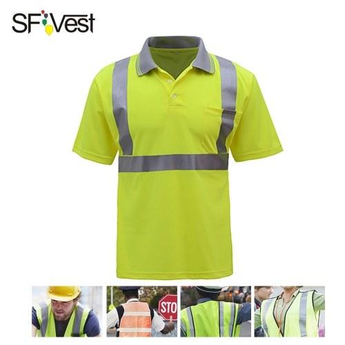SFVest 4006 Reflexivo T-shirt de Segurança do Trabalho Vestuário de Trabalho de Manga Curta Reflexivo Camisa de Segurança Respirável