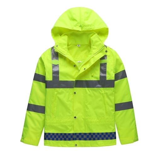 Safety Rain Jacket Waterproof Reflective High Visibility with Detachable Hood Safety Raincoat Traffic Jacket for Adult Yellow Size L