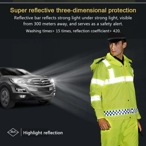 Safety Rain Jacket Waterproof Reflective High Visibility with Detachable Hood Safety Raincoat Traffic Jacket for Adult Yellow Size XL