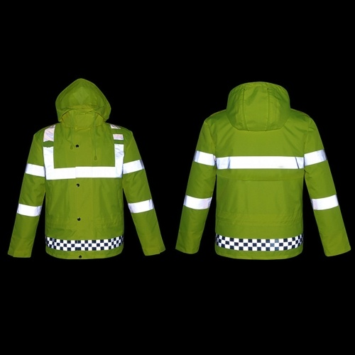 Safety Rain Jacket with Quilted Jacket Waterproof Reflective High Visibility with Detachable Hood Safety Raincoat Traffic Jacket for Adult Yellow Size 2XL