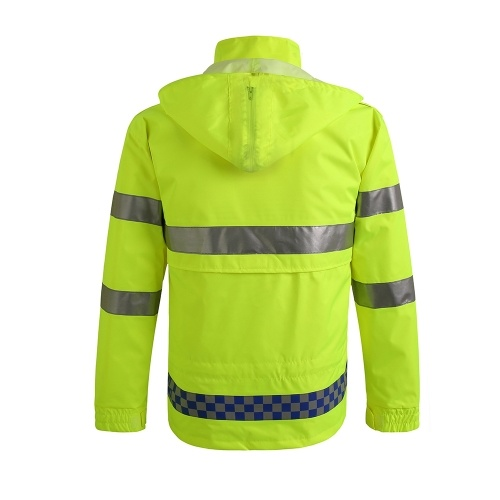 Safety Rain Jacket with Quilted Jacket Waterproof Reflective High Visibility with Detachable Hood Safety Raincoat Traffic Jacket for Adult Yellow Size 3XL