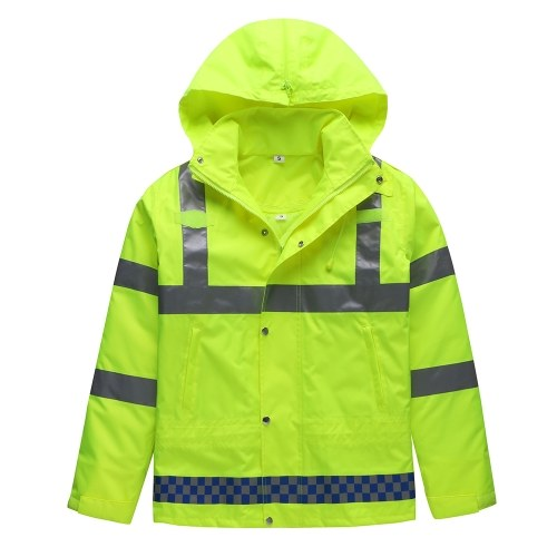 Safety Rain Jacket with Down Jacket Waterproof Reflective High Visibility with Detachable Hood Safety Raincoat Traffic Jacket for Adult Yellow Size 2XL