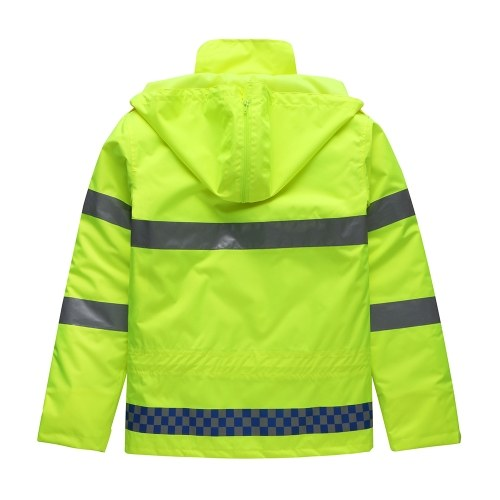 Safety Rain Jacket with Down Jacket Waterproof Reflective High Visibility with Detachable Hood Safety Raincoat Traffic Jacket for Adult Yellow Size L