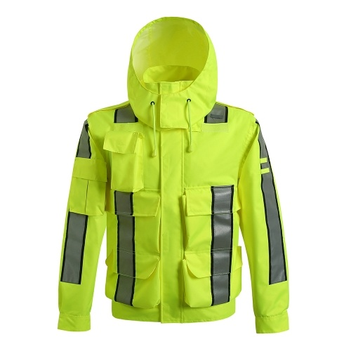 Safety Rain Jacket Waterproof Reflective High Visibility with Detachable Hood Safety Raincoat Traffic Jacket for Adult Yellow Size 3XL