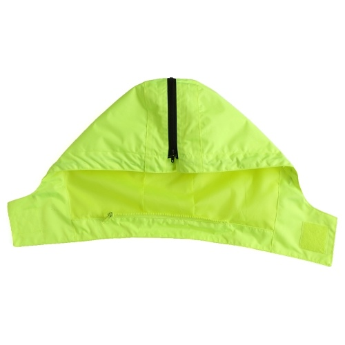 Safety Rain Jacket High Visibility Waterproof Reflective Raincoat with Detachable Hood Safety Raincoat Traffic Jacket for Adult Yellow Size L