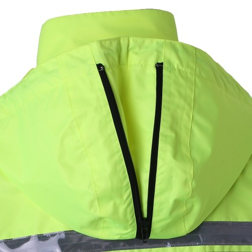 Safety Rain Jacket High Visibility Waterproof Reflective Raincoat with Detachable Hood Safety Raincoat Traffic Jacket for Adult Yellow Size XL