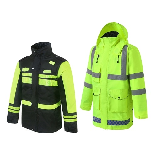 5-In-1 Safety Rain Jacket High Visibility Waterproof Reflective Raincoat with Cotton Coat Detachable Hood Adjustable Safety Raincoat Traffic Jacket for Adult Yellow Size XL