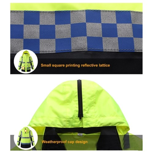 Safety Rain Jacket with Detachable Quilted Jacket Hood Waterproof Reflective High Visibility Safety Raincoat Traffic Jacket for Winter Yellow Size 2XL