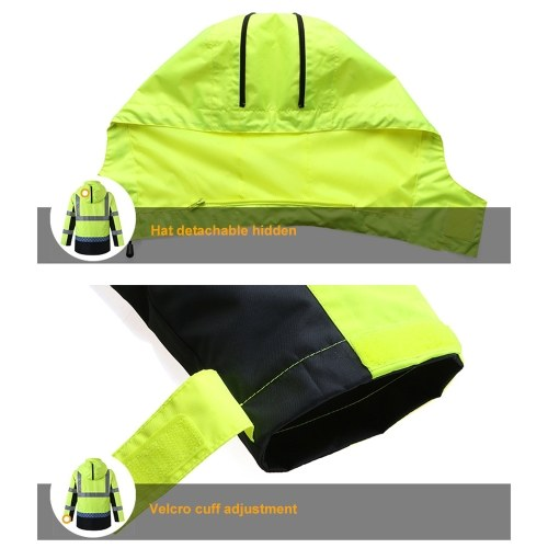 Safety Rain Jacket with Detachable Quilted Jacket Hood Waterproof Reflective High Visibility Safety Raincoat Traffic Jacket for Winter Yellow Size L
