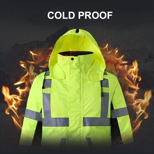 Safety Rain Jacket with Detachable Quilted Jacket Hood Waterproof Reflective High Visibility Safety Raincoat Traffic Jacket for Winter Yellow Size XL