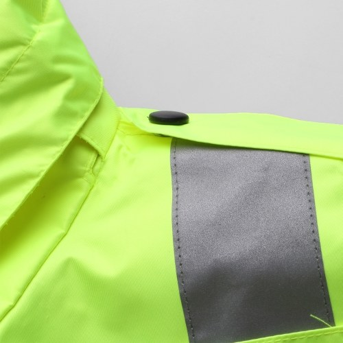 Safety Rain Jacket with Detachable Down Jacket Hood Waterproof Reflective High Visibility Safety Raincoat Traffic Jacket for Winter Yellow Size 2XL