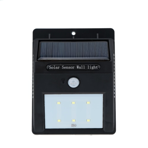 1W 6 LEDs Solar Panel PIR Motion & Light Sensor Water Resistant Wall Light Lamp Rechargeable Mounted in Outdoor Garden Pathway Driveway Decks Docks Garage Stairways