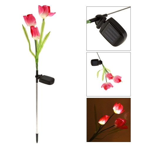 Outdoor Water Resistant Landscape Light Powerfrugal Solar Power Ni-MH Battery 3 LED Tulip Flower Lamps for Garden House Decoration