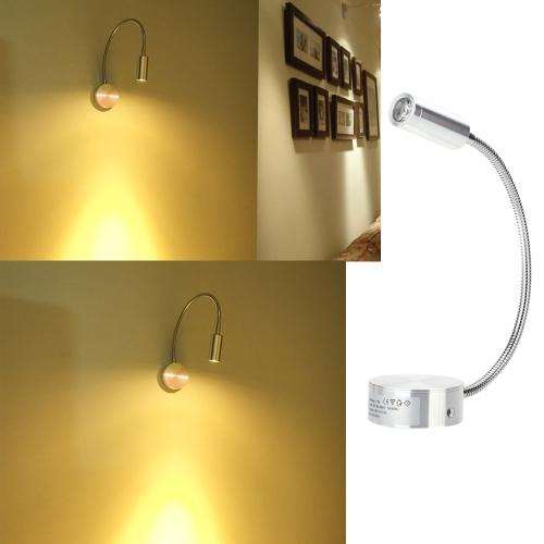 LED Lampa nocna Odczytywanie Lamp Ściennych Soft Tube Adjustable 1W Światło Lustrzane Elastyczne Światło Ciepłe Bez Przełącznika