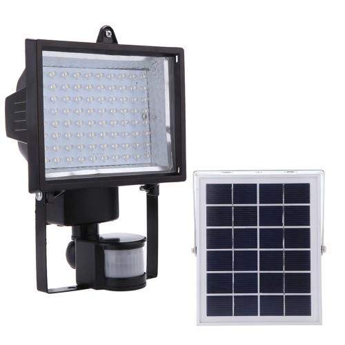 80 Solar LED Powered PIR lámpara Panel Blanco