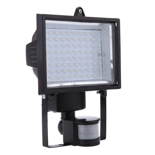 Ultra Bright 80 LED Solar Powered PIR Body Human Motion & Light Sensor Lamp Panel Outdoor Security Spotlight for Lawn Garden Pool Pond Road Pathway Driveway White