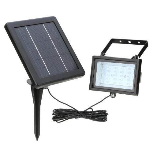 Lixada Ultra lumineux 30 LED Solaire Projecteur Capteur de lumière Lampe panneau de sécurité extérieur pour Pelouse Jardin Piscine chemin Pond Sentier Allée Blanc